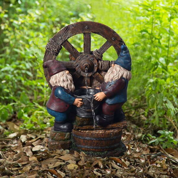 Resin Outdoor Little Gnome Friends Fountain by Peaktop