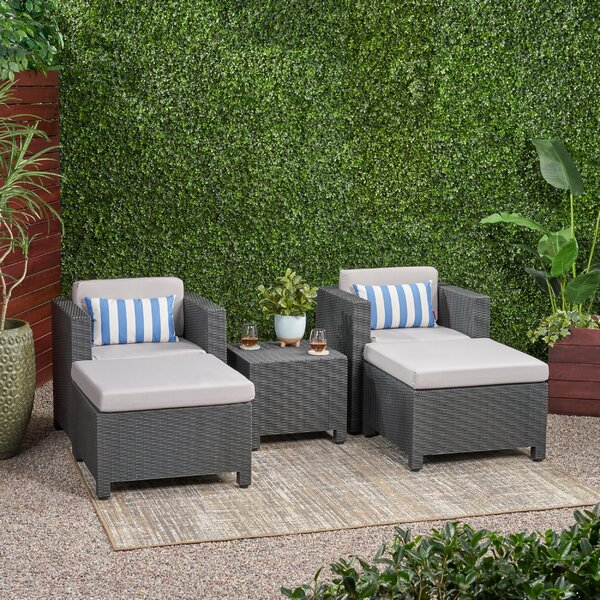 Rivera 5 Piece Rattan 2 Person Seating Group with Cushions Bayou Breeze W000259738