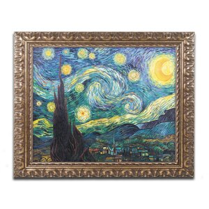 Starry Night by Vincent van Gogh Framed Painting Print by Trademark Fine Art