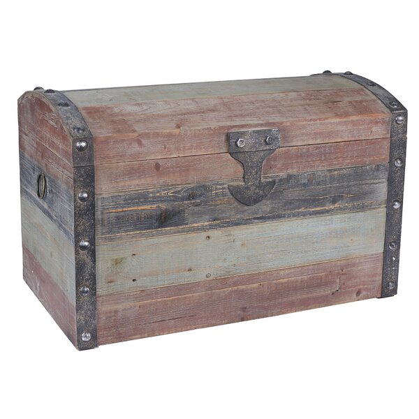 Large Weathered Wooden Storage Trunk by Household