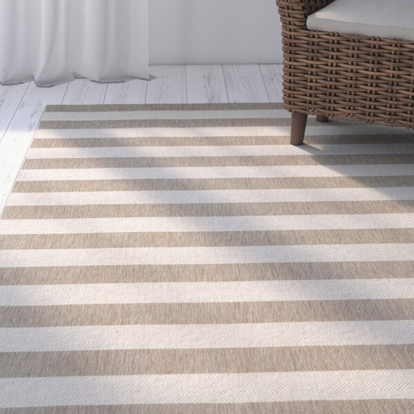 Palm Cove Wheat Beige Striped Outdoor Area Rug by Breakwater Bay