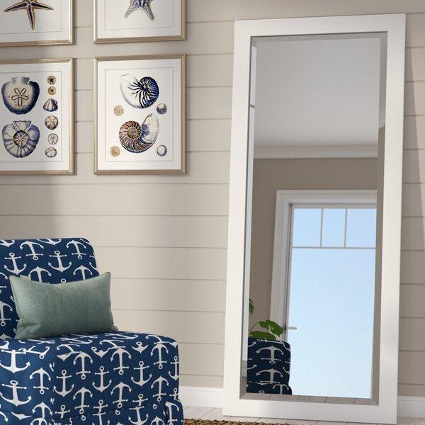 Fenton Beveled Satin White Wall Mirror by Beachcrest Home