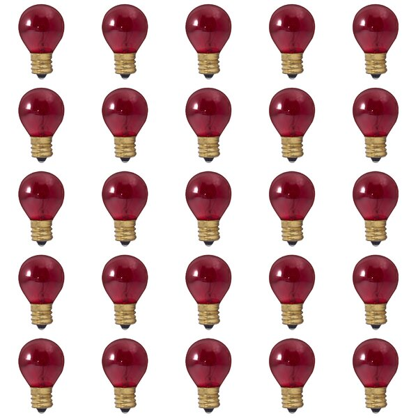 10W E17 Dimmable Incandescent Light Bulb Transparent Red (Set of 25) by Bulbrite Industries