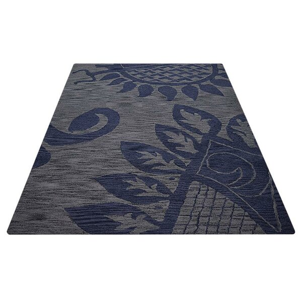 Aaron Hand-Tufted Wool Blue/Gray Area Rug by World Menagerie