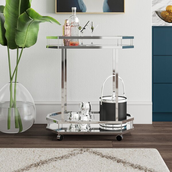 Distefano Contemporary Bar Cart by Mercury Row