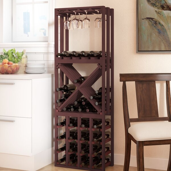 Karnes Pine Lattice Stacking Cube 45 Bottle Floor Wine Rack by Red Barrel Studio