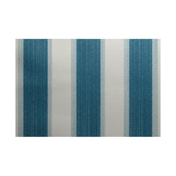 Addyson Stripe Print Teal Indoor/Outdoor Area Rug by Breakwater Bay