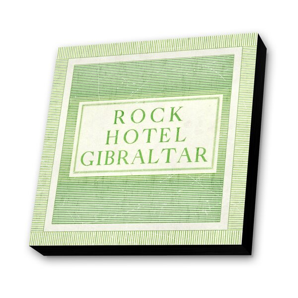 Rock Hotel Gibraltar Textual Art Plaque by Lamp-In-A-Box