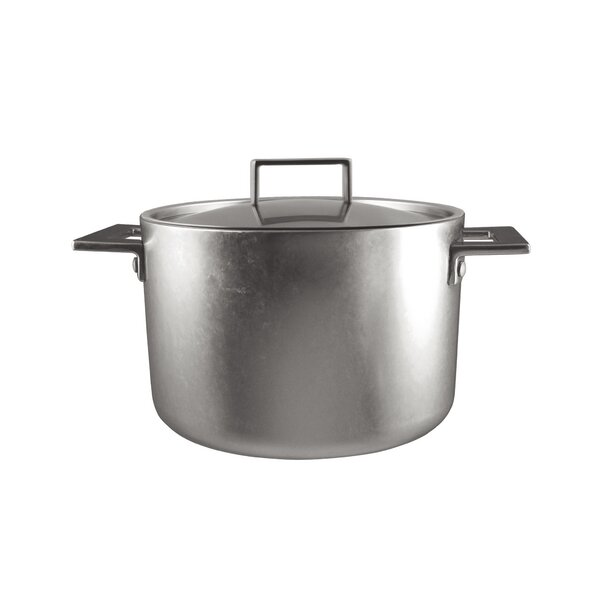 Attiva Pewter Deep Stock Pot with Lid by MEPRA