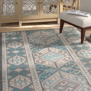 Septfontaines Teal Beige Area Rug
