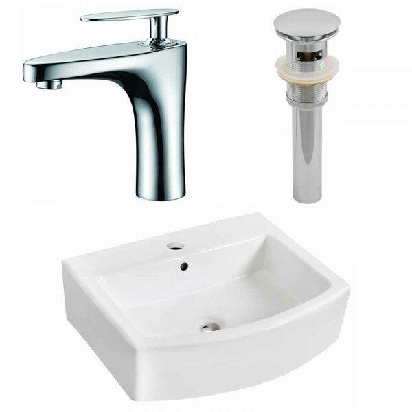 Ceramic 22 Wall-Mount Bathroom Sink with Faucet and Overflow by Royal Purple Bath Kitchen