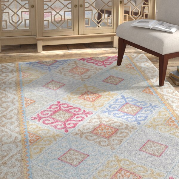 Knowland Hand-Tufted Wool Sky Blue/Camel Area Rug by Bungalow Rose