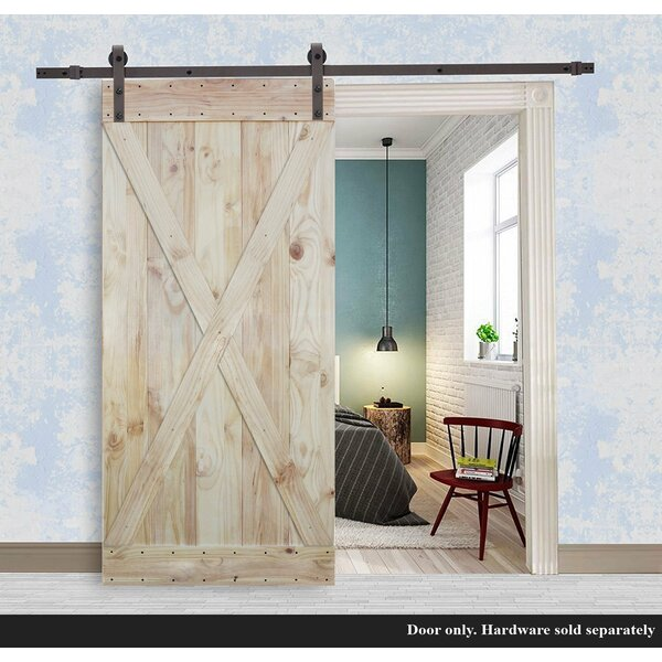 2 Side Solid Wood X Paneled Slab Interior Barn Door by Calhome