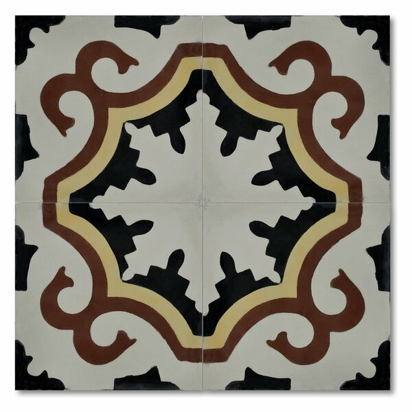 Tanger 8 x 8 Handmade Cement Tile in Black/Red by Moroccan Mosaic