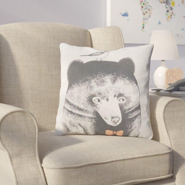 Cooke Bear and Bird Cotton Throw Pillow by Harriet Bee
