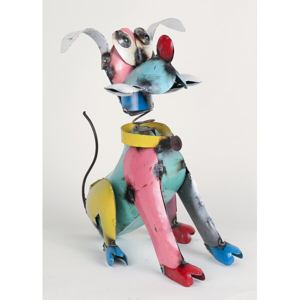 Small Recycled Metal Pluto Dog Figurine by My Amigos Imports