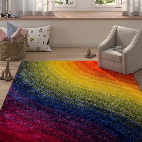 Ainsley Soft 3D Wavy Rainbow Area Rug by Zoomie Kids