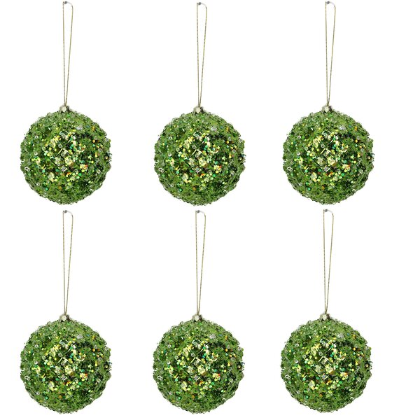 Glitter Tiffany Beaded Metal Christmas Ornament Ball (Set of 6) by The Holiday Aisle