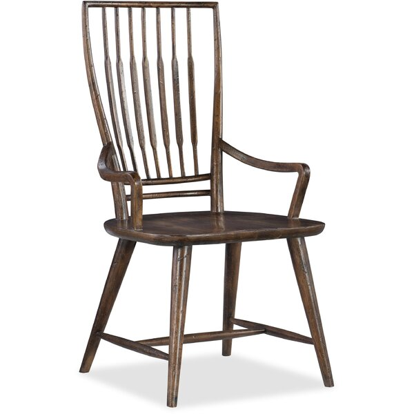 Roslyn County Solid Wood Dining Arm Chair In Medium Pecan (Set Of 2) By Hooker Furniture