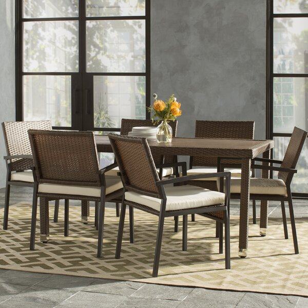 Indus 7 Piece Dining Set with Cushions by Mercury Row
