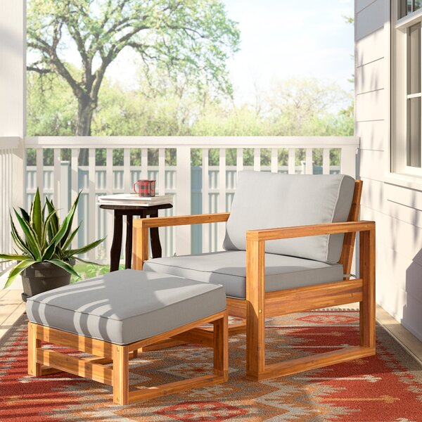 Lydon Patio Chair with Cushion and Ottoman by Union Rustic