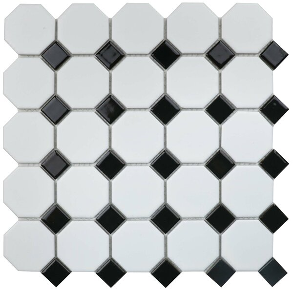 Value Series Random Sized Porcelain Mosaic Tile in Matte White/Black by WS Tiles