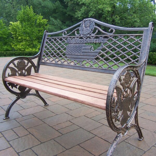 God Bless America Wood and Aluminum Park Bench by Oakland Living