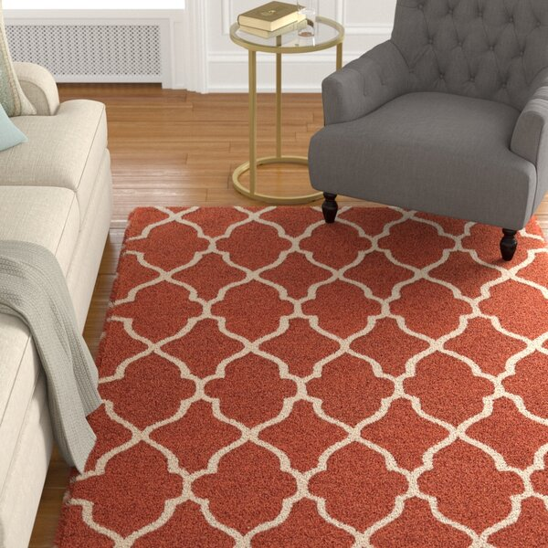 Wyndmoor Hand-Tufted Orange/White Area Rug by Alcott Hill