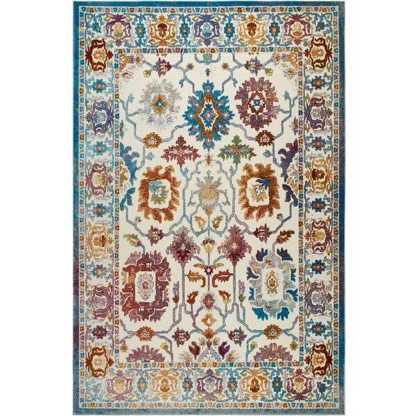 Helms Ivory/Blue Area Rug by Bungalow Rose