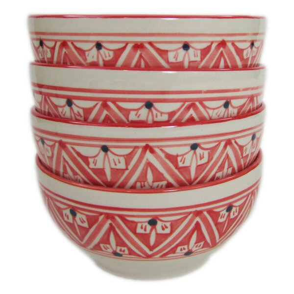Nejma 24 oz. Stoneware Soup/Cereal Bowl (Set of 4) by Le Souk Ceramique