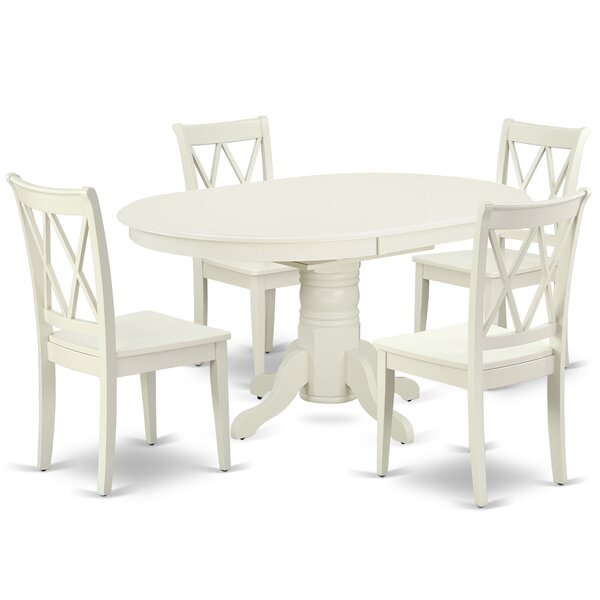 Kouba 5 Piece Extendable Solid Wood Dining Set by August Grove