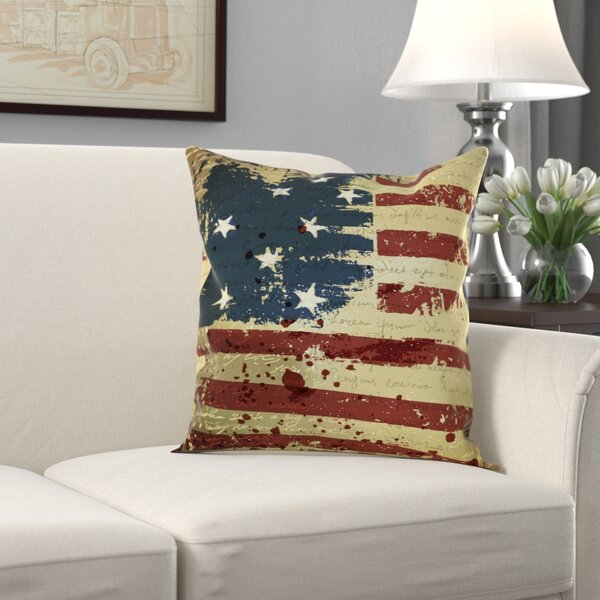 Wallingford Vintage American Flag Throw Pillow by Alcott Hill