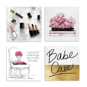 'Babe Cave' 4 Piece Graphic Art Print Set on Canvas (Set of 4) by Oliver Gal