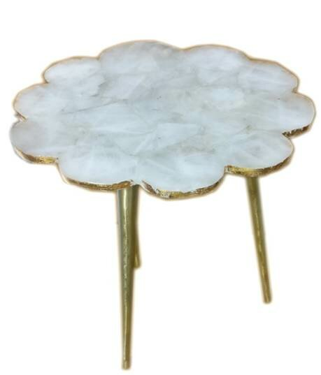 Aitkin Quartz Flower Natural Stone End Table by Bungalow Rose