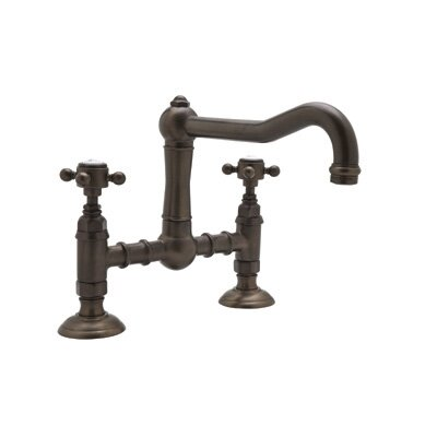 Deck Mounted Bridge Faucet with Cross Handles in Satin Nickel by Rohl