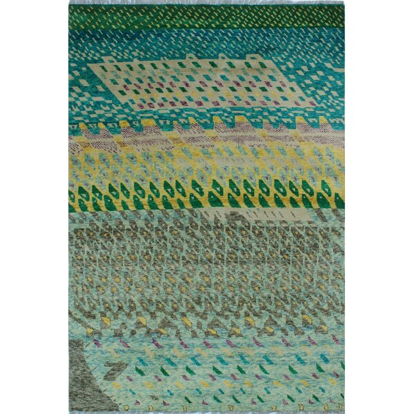 One-of-a-Kind Millender Thabiti Hand-Knotted Wool Green Area Rug by Bloomsbury Market