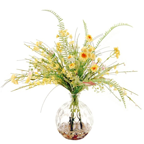 Wildflowers in a Glass Vase with River Rocks and Faux Water by LCG Florals