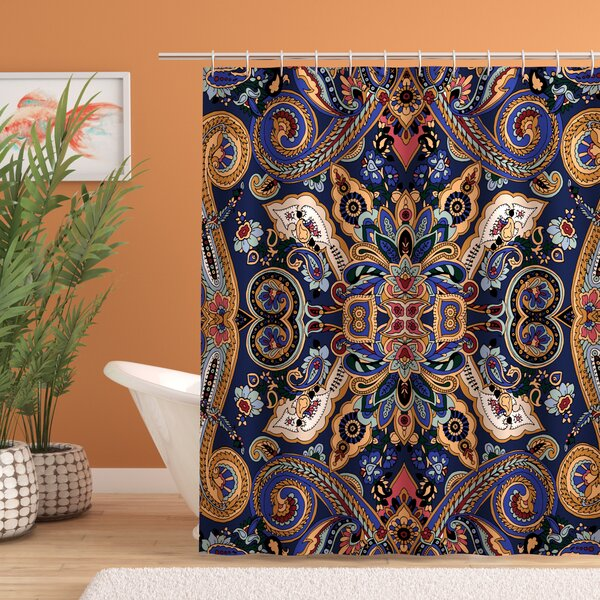 Barnaby Moroccan Florets Decor Shower Curtain by Bloomsbury Market