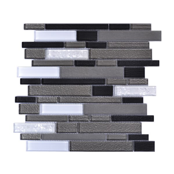 Upscale Designs Random Sized Glass and Natural Stone Mosaic Tile in White and Gray by Instant Mosaic