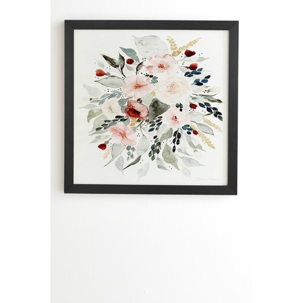 CANVAS PICTURE CREAM SOFT FLORAL WALL ART FRAMED 20x20/""
