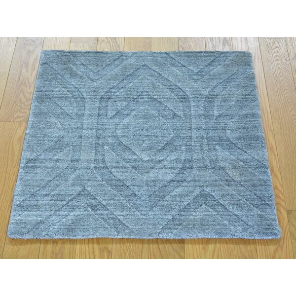 One-of-a-Kind Belvedere Hand-Knotted Grey Wool/Silk Area Rug by Isabelline