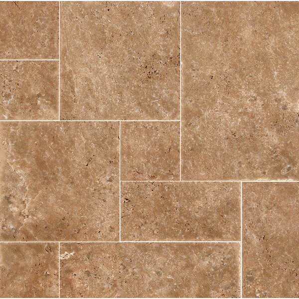 Random Sized Travertine Mosaic Tile in Dark Walnut Chiseled Brushed by Parvatile