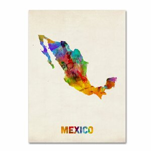 Mexico Watercolor Map by Michael Tompsett Graphic Art on Wrapped Canvas by Trademark Fine Art