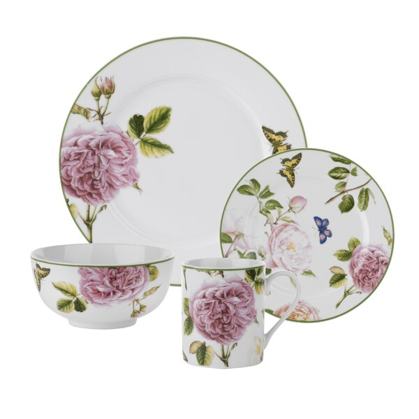 Roses 16 Piece Dinnerware Set, Service for 4 by Sp