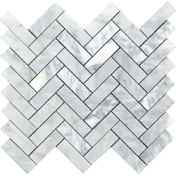Carrara 0.875 x 2.875 Marble Mosaic Tile in White by The Bella Collection