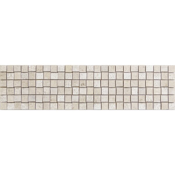 Presidio Chevron 1 x 1 Limestone Mosaic Tile in Ivory by Emser Tile
