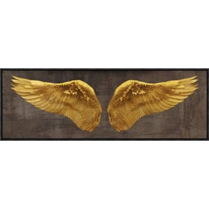 'Angel Wings' Oil Painting Printin Gold and Brown by East Urban Home