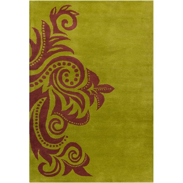 Fortson Hand Tufted Wool Green/Brown Area Rug by Bloomsbury Market