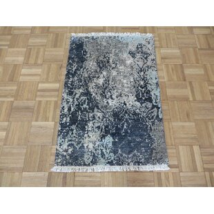 Best Price One-of-a-Kind Durrah Hand-Knotted 2'3 x 3'3 Wool/Silk Gray/Beige/Black Area Rug By Isabelline