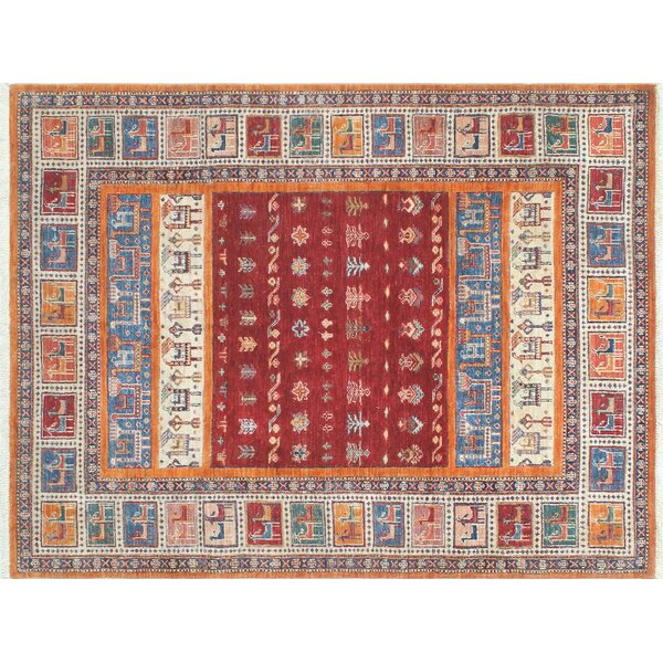 One-of-a-Kind Vernell Striped Hand-Knotted Red Area Rug by Isabelline